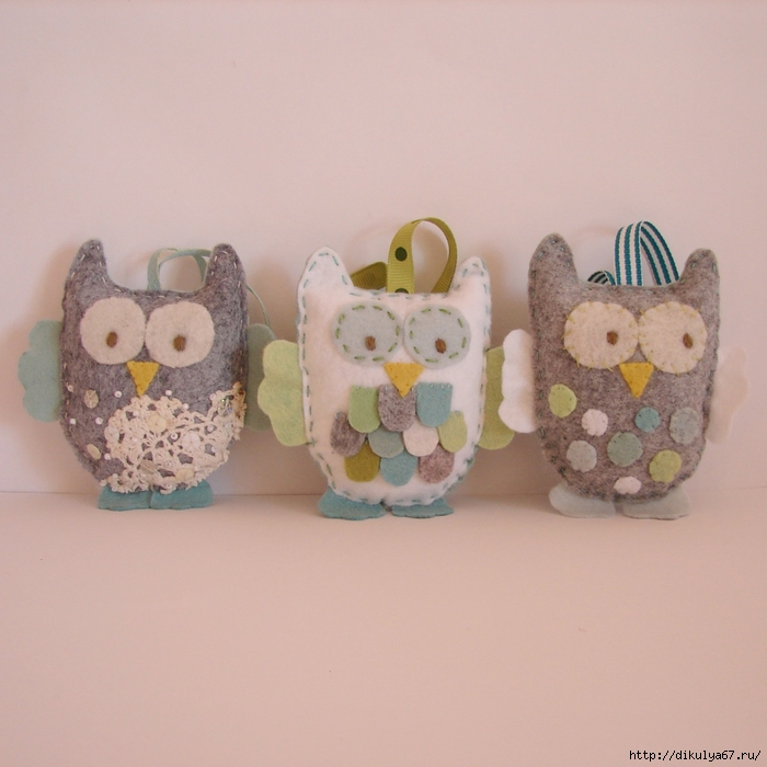 Christmas ornaments owls grey, green,blue white (700x700, 265Kb)