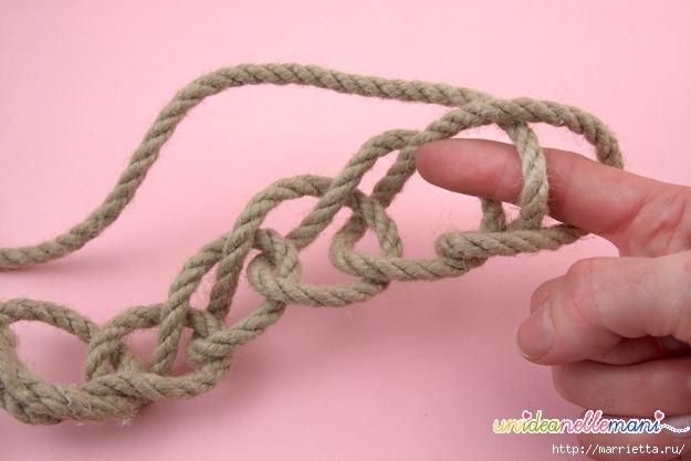 Корзинка из веревки. Вязание на руках (2) (625x417, 92Kb)