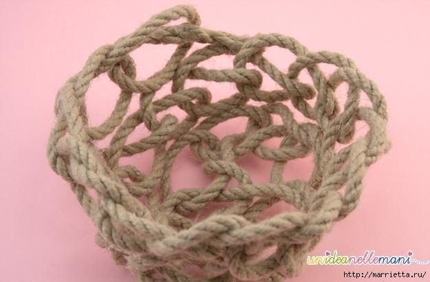 Корзинка из веревки. Вязание на руках (6) (625x410, 106Kb)