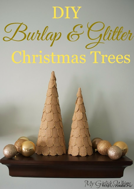 Burlap and Glitter Christmas Trees (455x640, 154Kb)