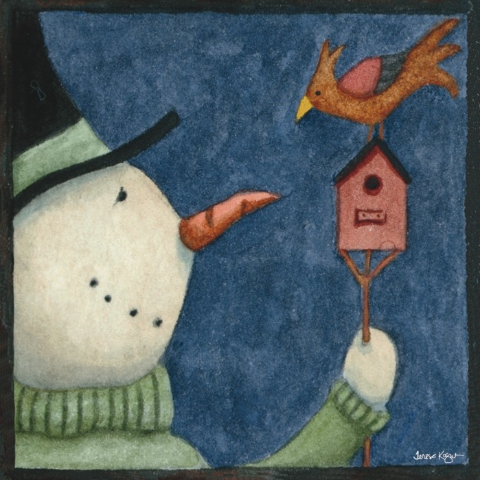 Snowman and Bird (699x700, 289Kb)