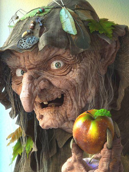 баба яга с яблоком (449x599, 67Kb)