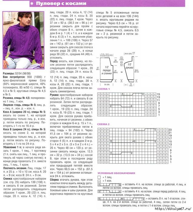 Схемы вязания спицами джемпера мужского 18