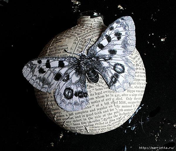 Декорирование елочных шаров обрывками книжных страниц и бабочками (9) (600x517, 292Kb)