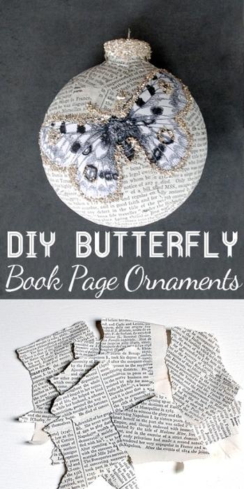 Декорирование елочных шаров обрывками книжных страниц и бабочками (14) (350x700, 205Kb)
