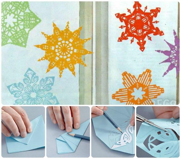 Как сделать двойную снежинку своими руками