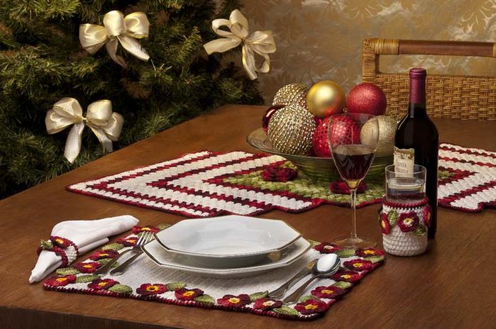 Вязание крючком. Праздничный комплект для сервировки стола (1) (699x464, 581Kb)