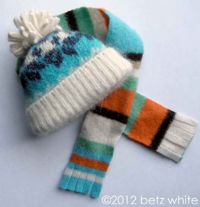 Шапочки для пингвинов из рукавов старого свитера (9) (673x700, 274Kb)