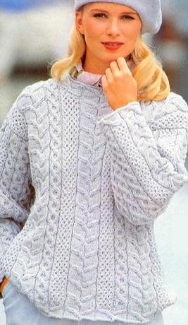 <свитер с косами схема - Самое