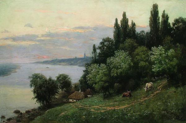 Закат над рекой. 1890 (600x396, 83Kb)
