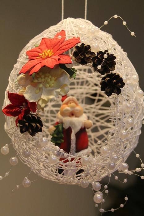 Поделки на новый год из шаров из ниток