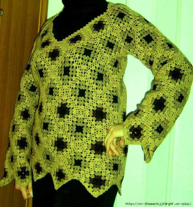 Вязание кофты бабушкиным квадратом 219