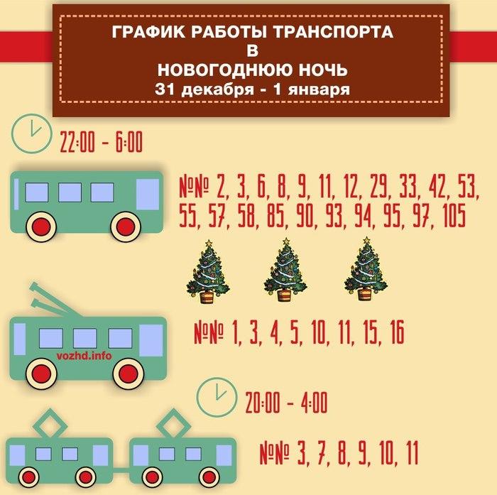 График работы транспорта в Новогоднюю ночь