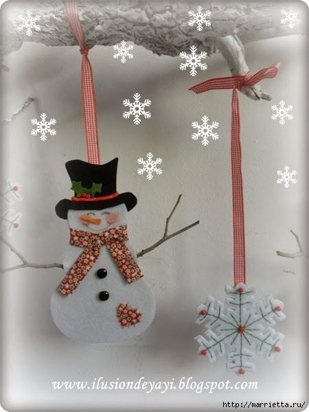 Снежинки и снеговики из фетра (6) (450x600, 129Kb)