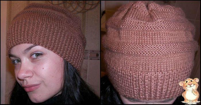 Вязать спицами теплую двойную шапку спицами