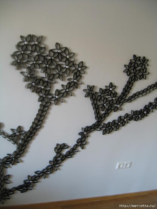 Вазочки из бутылок и украшение стен рулончиками от бумажных полотенец (6) (525x700, 196Kb)