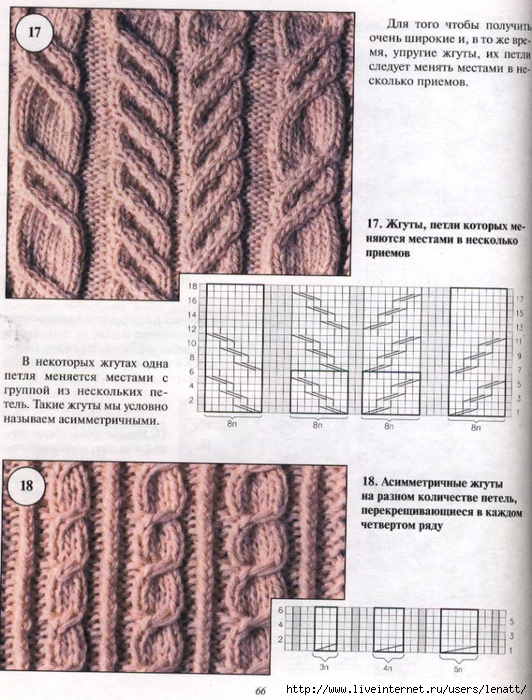 Вязание с диагональными узорами спицами схемы6