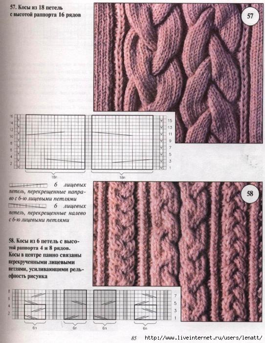 Образцы вязание косы спицы
