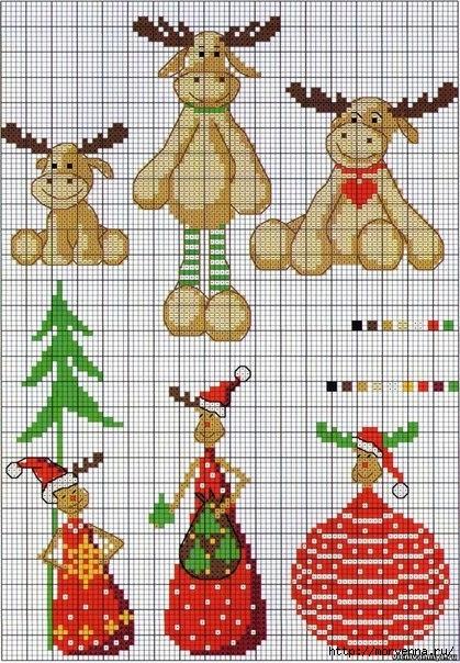 Схемы вышивки крестом новогодние миниатюры