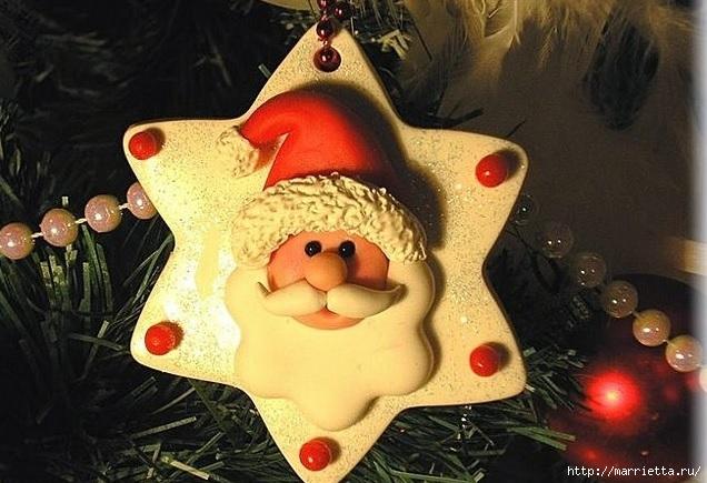 Фото мастер-класс по лепке Санта Клауса - подвески для елочки (1) (636x435, 193Kb)