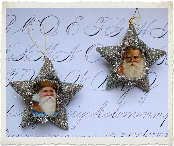 Елочные украшения - звезды с Санта Клаусом. Шаблоны для распечатки (2) (700x588, 292Kb)