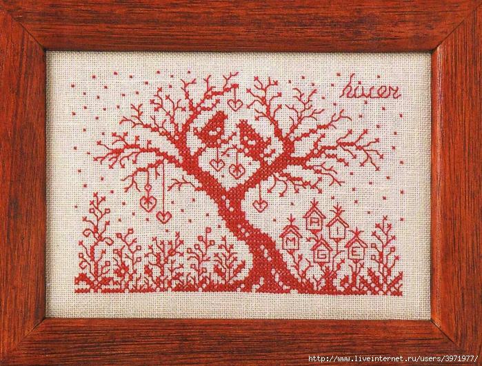 Схема вышивки сердечное дерево