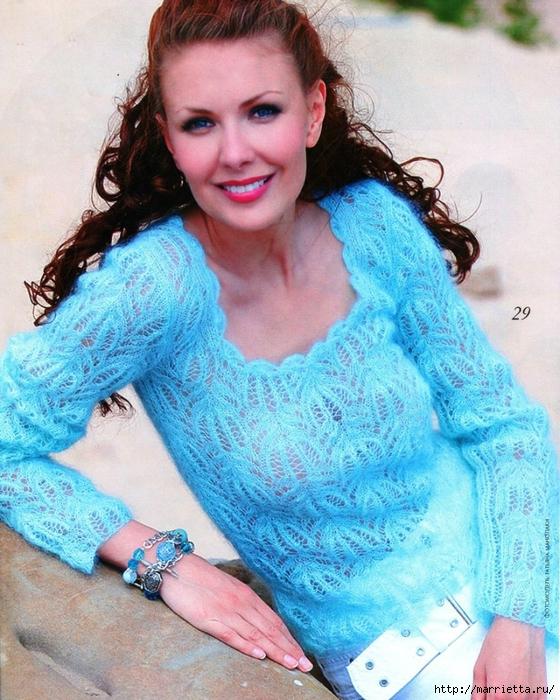 Вязание спицами. Нежный голубой пуловер (1) (560x700, 361Kb)