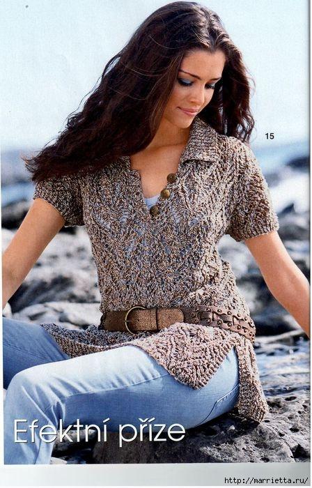 Спицами. Ажурный пуловер с боковыми шлицами и воротником поло (1) (448x700, 240Kb)