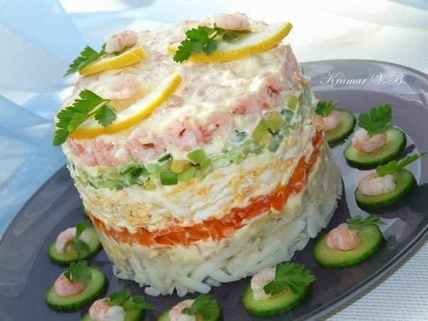 Салаты с креветками фото рецепт