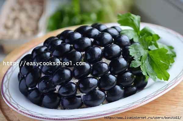 Салат виноградная гроздь пошагово
