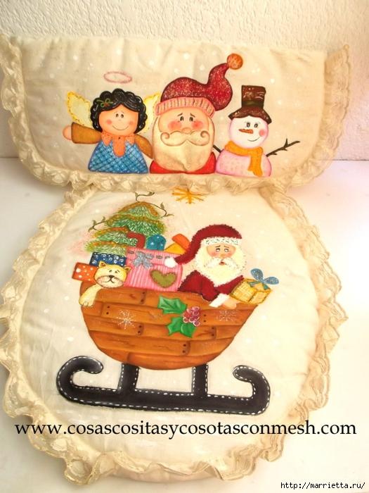 Рождественская роспись по ткани комплекта для ванной комнаты (51) (525x700, 287Kb)