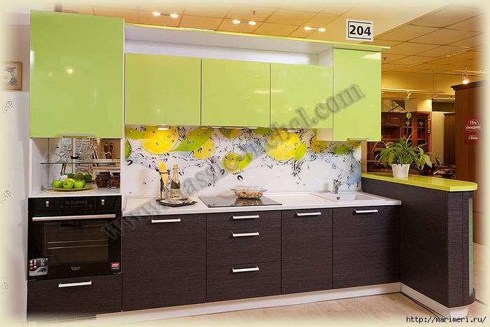 Дизайн кухонь цвет венге и зеленый