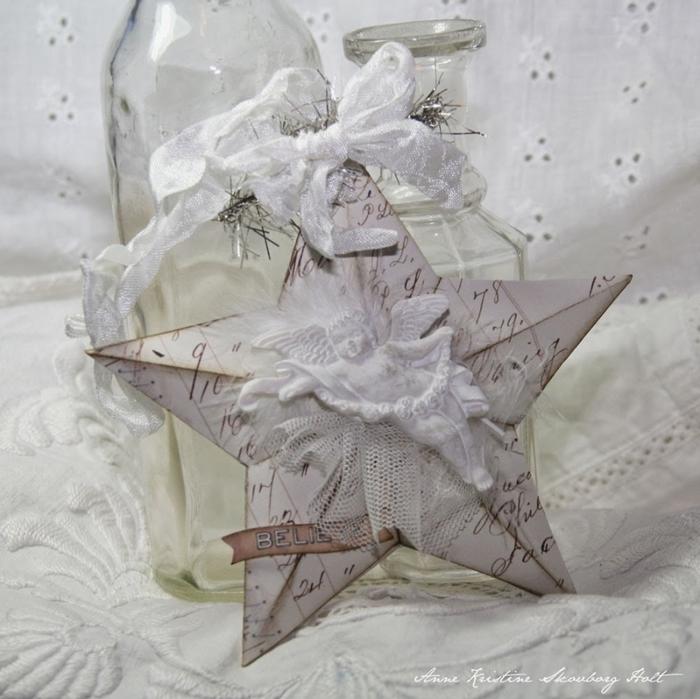 Винтажные звезды из бумаги. Шаблон (14) (700x699, 270Kb)