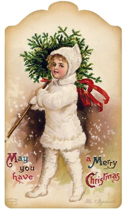 Винтажные картинки и идеи для создания подвесок, тэгов и рождественских гирлянд (20) (419x700, 222Kb)