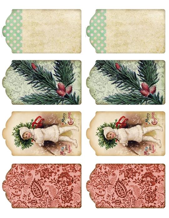 Винтажные картинки и идеи для создания подвесок, тэгов и рождественских гирлянд (22) (540x700, 312Kb)