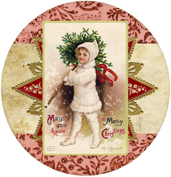 Винтажные картинки и идеи для создания подвесок, тэгов и рождественских гирлянд (35) (677x700, 357Kb)