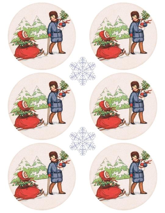Винтажные картинки и идеи для создания подвесок, тэгов и рождественских гирлянд (48) (541x700, 260Kb)