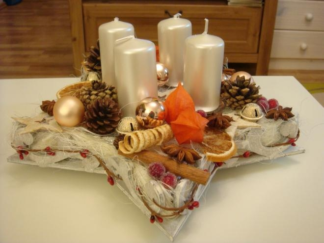Рождественская звезда - подсвечник из пенопласта, картона и сизаля (6) (660x495, 123Kb)