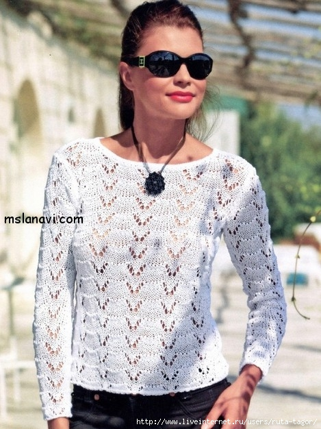 Вязаный-ажурный-пуловер (469x626, 226Kb)