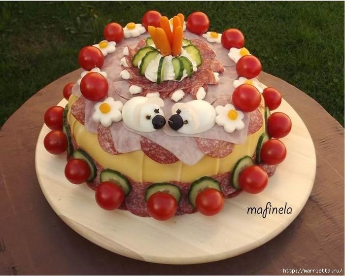 Соленый закусочный торт. Идеи оформления к ПАСХЕ (30) (700x560, 250Kb)