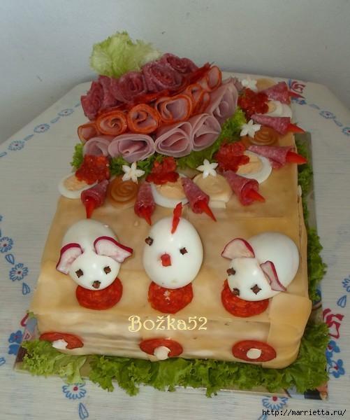 Соленый закусочный торт. Идеи оформления к ПАСХЕ (49) (501x600, 134Kb)