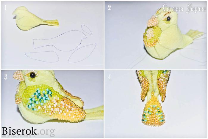 Птичка из фетра и бисера от Евгении Ворона (2) (700x468, 242Kb)