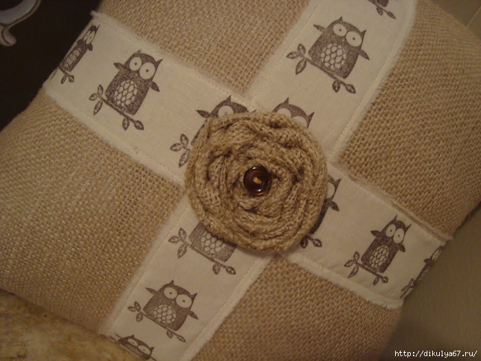 French Market Owl on a Branch Burlap, Muslin and Rose Patent Pending Pillow Decor 1 (700x525, 266Kb)