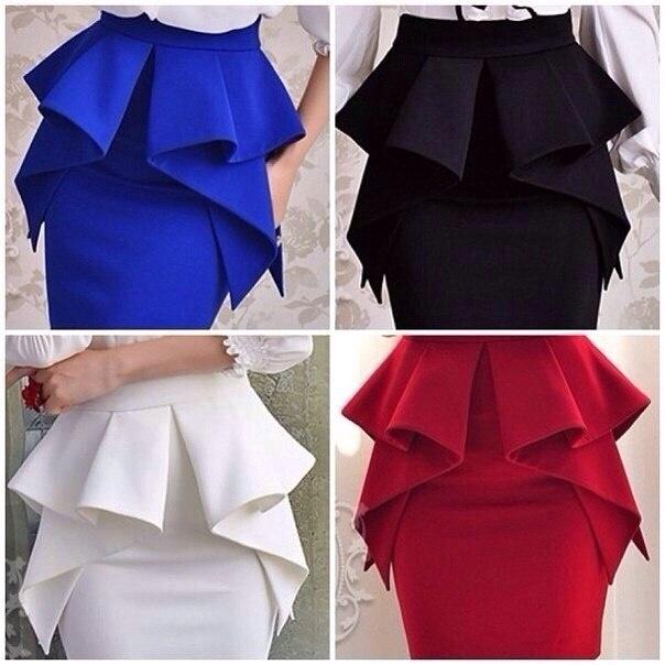 Выкройка прямая юбка с баской