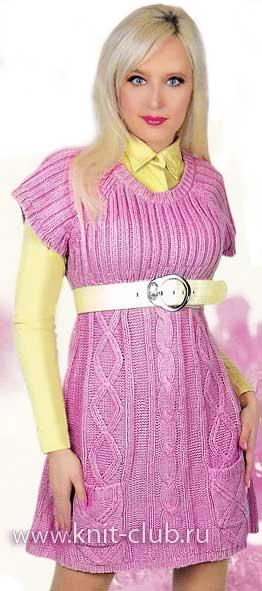 Размер вязаного платья: 46-48