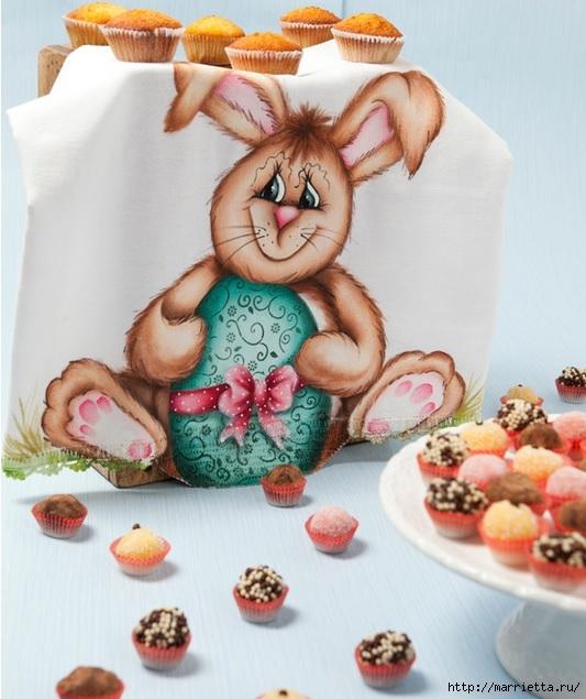 Роспись кухонного полотенца. Пасхальный кролик (1) (533x635, 196Kb)