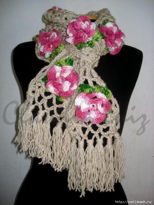 Вязание крючком шарфы цветочные 36
