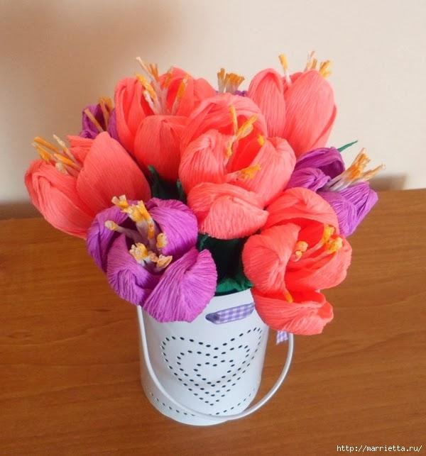 Цветы из гофрированной бумаги. КРОКУСЫ (6) (600x643, 175Kb)