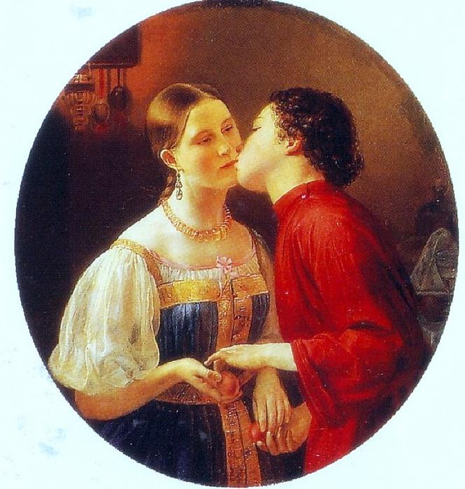 Фаддей Горецкий. Христосование 1850 (665x700, 140Kb)