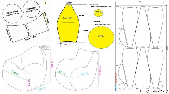 Для изготовления внутреннего чехла кресла-мешка, в который будет засыпаться наполнитель, рекомендуется плотная натуральная смесовая ткань или прочный, легкий и водоотталкивающий полиэстровый материал.
